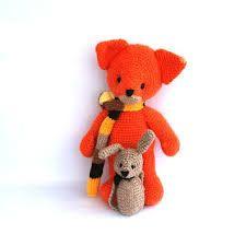 Red fox and rabbit amigurumi