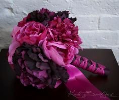 Fuchsia and Purple Peony Bouquet Silk Wedding by KateSaidYes