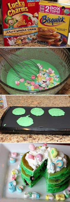 Lucky Charms Pancakes ~ easy, simple St. Patrick's Day Breakfast...this wouldbe fun for the classroom!