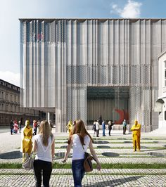 bevk perović arhitekti has unveiled plans to renovate and extend the historic 'SNG drama' in ljubljana, the national theater of slovenia. Theatre Architecture, Facade Architecture, Building Skin, Building Facade, Retail Facade, National Theatre, Facade Design, Facade House, Cladding