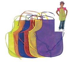 Amazon.com: 12 Pack Assorted Children's Artists Aprons - Kitchen or Classroom: Toys & Games