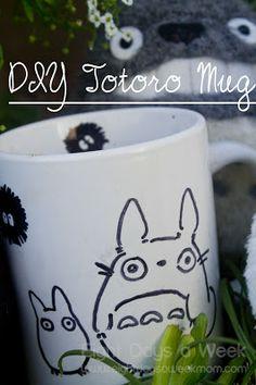 totoro, mug, handmade, diy, art, craft, gift, sharpie, dishwasher safe