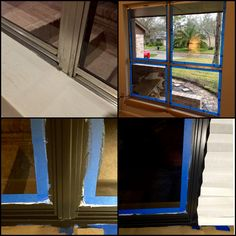 31 Year Old Aluminum Frame Windows    Sanded, Primed And Painted In Acrylic  Water Based    BM   Onyx Black