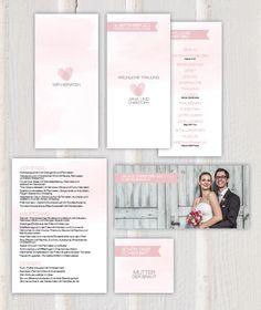 Hochzeitspapeterie Rosa Wasserfarbe mit Fingerabdruck