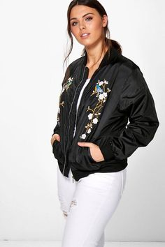 boohoo Plus Mel Floral Bird Embroidered Bomber Jacket