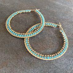 Turquoise and gold large wire wrapped statement by stonepoetry
