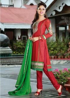 USD 91.97 Red Faux Georgette Churidar Salwar Kameez 32578