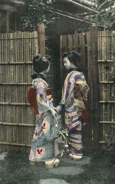 1910, Japan.  Hand-colored postcard