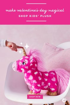 "Give this plush pink unicorn with a heart print to your little sweetheart on Valentine's Day or anytime. Plays a parody version of the song ""Magic"" and dances."