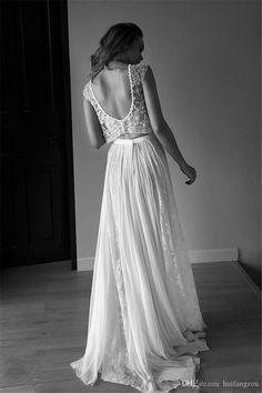 2016 Lihi-Hod dos pedazos de la boda Vestidos de encaje sin espalda de los granos de los cristales de la longitud del piso vestido de novia blanco Hecho A Custom Line