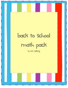 Back to School Math pack- 3 center activities for the start of the school year#Repin By:Pinterest++ for iPad#