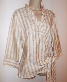 Witteveen Wrap Blouse XL 18 EU 48 Stripe White Beige Ruffle Netherlands Shirt  #Witteveen #WrapBlouse #NetherlandsFashion #WitteveenNetherlands