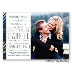 Your photo paired with a unique typography layout featuring beautiful silver foil is nicely complemented by the pinstriped border on this foil wedding invitation. Your monogram appears with a matching pinstripe design on the back of this two-sided card. Select wording is printed in your choice of colors and fonts. Pinstripes are printed in your choice of color. Invitation includes inner and outer envelopes. Silver foil is only printed on the front of this double-sided invitation.