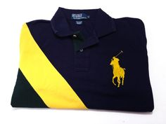 Polo Ralph Lauren M Men's Big Pony Blue Yellow Green Polo Short Sleeve Medium #PoloRalphLauren #PoloRugby