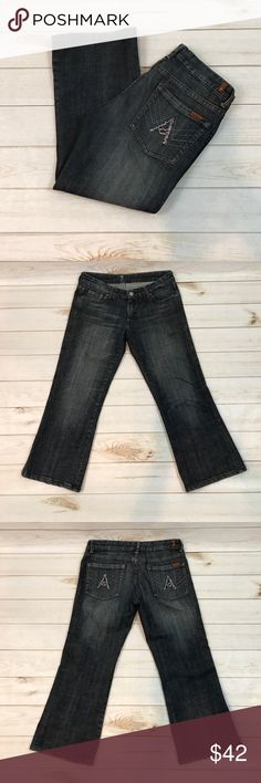 """7 For All Mankind A Pocket Crop Jeans 7 For All Mankind A Pocket Crop Jeans With Crystal Pockets, Size 29. In really good condition. 31"""" length. 23.5"""" inseam. 7 For All Mankind Jeans"""