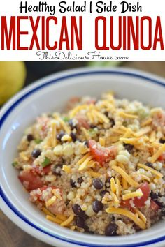 Easy and healthy Mexican Quinoa salad has fresh corn, black beans, tomatoes, and green onions. Taco Side Dishes, Mexican Side Dishes, Mexican Buffet, Healthy Side Dishes, Side Dishes Easy, Side Dish Recipes, Dinner Dishes, Food Dishes, Mexican Food Recipes