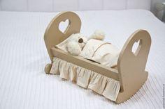Купить кровать для куклы, бежевая - бежевый, кровать, кроватка, кроватка для куклы, кровать из дерева