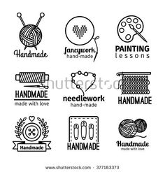 Handmade black thin line icons on white background. Handmade workshop logo set for painting cross stitching sewing and knitting. Vector illustration