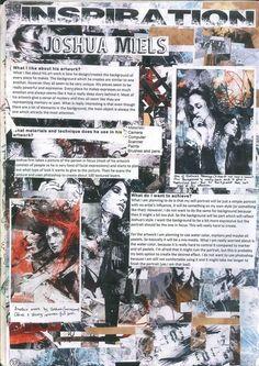 Self Portrait Project Pages: Inspiration page titled ''Joshua Miels'' by Chhavi Kumar Gcse Books, Sketchbook Inspiration, Sketchbook Ideas, Art Folder, A Level Art, Arts Ed, Gcse Art, Art Portfolio, Art Pages