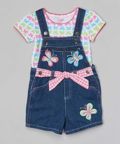 Look at this #zulilyfind! Pink Top & Blue Denim Shortalls - Toddler & Girls by Nannette Girl #zulilyfinds