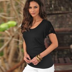 Tee-shirt manches courtes franges #Blancheporte