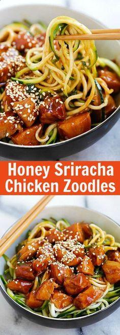 Honey Sriracha Chicken Zucchini Noodles – healthy zoodles with sweet and spicy honey sriracha chicken. So good you want this every day   rasamalaysia.com