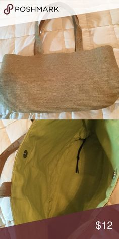 Straw Purse Lined in lime green cotton with drawstring. Used twice.  Excellent condition! Target Bags Totes