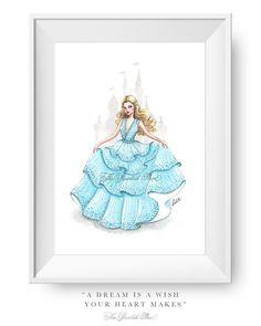 Fashion illustration print, Fashion art, girl art, girls room art, watercolor, vanity art, disney, cinderella - Hello Princess!