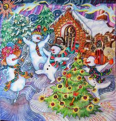 lizzymarycullen from themagicalchristmas Color Pencil Picture, Color Pencil Art, Enchanted Forest Book, Enchanted Forest Coloring Book, Christmas Artwork, Christmas Colors, Christmas Ideas, Adult Coloring, Coloring Books