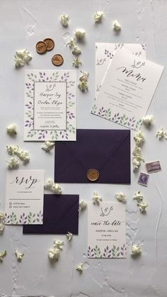 Rustic lavender purple and green wedding invitations with greenery and watercolour. Perfect for a rustic wedding. Invitation, envelope, RSVP card, save the date, menu and program.