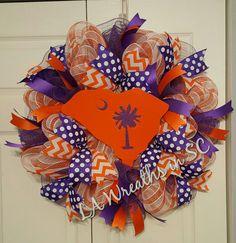 Clemson Tiger mesh wreath,  Clemson Tiger South Carolina wreath, Clemson palmetto SC mesh wreath