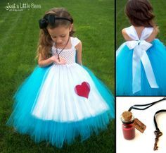 Child Costume Alice in Wonderland Tutu Costume Up Costume by JustaLittleSassShop Baby Dress Diy Tutu, No Sew Tutu, Costumes Avec Tutu, Dress Up Costumes, Baby Costumes, Tutu Sans Couture, Fantasias Up, Costume Alice, Olaf Costume