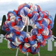 Red, white and blue patriotic mesh wreath