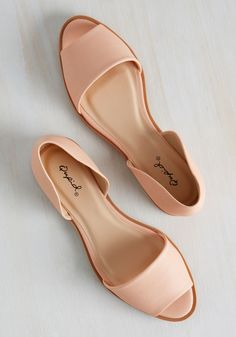 Appreciative Initiative Flat. Take it upon yourself to thank nature for its beauty by heading out for a grateful stroll in these dOrsay flats - a vegan-friendly, faux-leather pair. #pink #modcloth