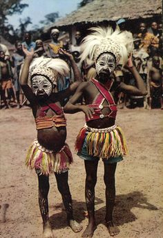 Africa | Little dancers.  Ivory Coast. || Scanned postcard; published by IRIS