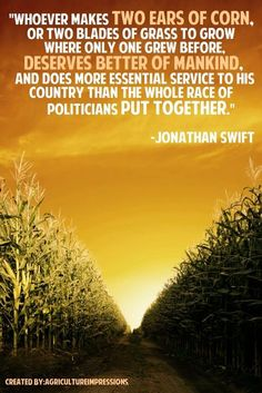 """Whoever makes two eats of corn, or two blades of grass to grow where only one grew before, deserves better of mankind, and does more essential service to his country than the whole race of politicians put together."" - Jonathan Swift #agriculture"