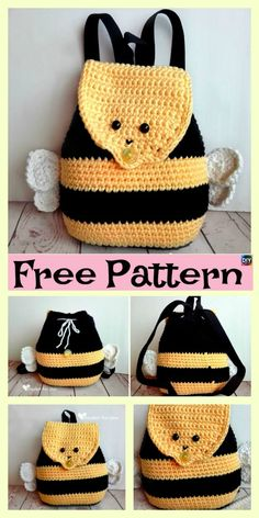 Cute Crochet Bumble Bee Backpack – Free Pattern This Crochet Bumble Bee Backpack is pretty simple to make . Your child will love this cute backpack , and crocheting it will also save some money too. Crochet Bee, Crochet Shell Stitch, Crochet Gifts, Cute Crochet, Crochet For Kids, Crochet Handbags, Crochet Purses, Mochila Crochet, Crochet Projects