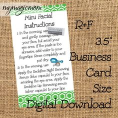 Rodan and Fields Mini Facial Instruction Card  by MyMagicMom