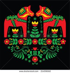 Swedish Dala or Daleclarian horse floral folk art pattern on black  background - stock vector by RedKoala #Sweden