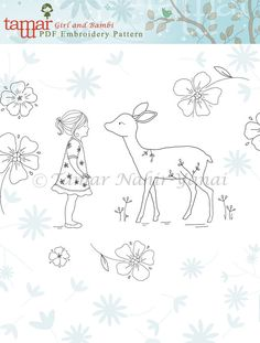 Welcome to my shop. This listing is for a PDF Download of the Embroidery Pattern: Bambi Girl Included in the PDF file: Black and white image of