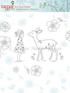 Embroidery Patterns Baby Girl Girl and Bambi by TamarNahirYanai