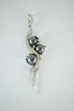 Item #:DOR-014.White Gold. Pendant with Diamonds & Hematites.   DORANO JEWELRY UNIQUE DESIGN & EXCELLENT CUT