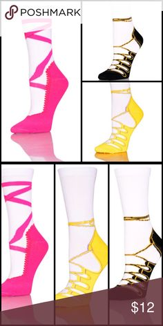 Teen Novelty Ballet Print Socks Set Of 3 Set of 3 novelty crew socks in a ballet print. Size is 9-11.  Great for your teen. Pink,yellow,black ballet shoes. Mom these will fit you too. Many kids start to fit into women's socks at about age 10. If the big kid you have in mind is tall, or has rather large feet for her age, then just skip right on to women's socks. Accessories Hosiery & Socks