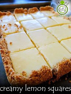 CREAMY LEMON SQUARES: FOR THE CRUST 4 tablespoons butter, melted and cooled, plus more for pan cup graham cracker crumbs ¼ cup sugar FOR THE FILLING 2 large egg yolks 1 can ounces) sweetened condensed milk ½ cup fresh lemon juice lemons) How 13 Desserts, Dessert Recipes, Paleo Dessert, Easy Lemon Desserts, Key Lime Desserts, Icebox Desserts, Potluck Desserts, Thanksgiving Desserts, Dessert Food