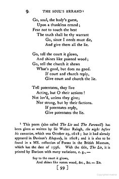 """Sir Walter Raleigh thought to be the author of """" The Lie"""" - but perhaps it was written by Master Roydon, instead?   http://en.wikipedia.org/wiki/The_Lie_(poem)"""