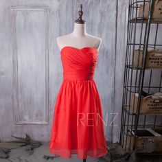 This can be custom ordered. 2015 Coral Bridesmaid dress Orange Red Wedding dress by RenzRags