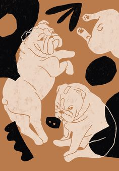 english bulldogs illustration by Jagoda Jankowska instagram: @blueberry.kingdom Illustration Sketches, Illustrations And Posters, Graphic Design Illustration, Digital Illustration, Silkscreen, Plakat Design, Dog Art, English Bulldogs, Art Drawings