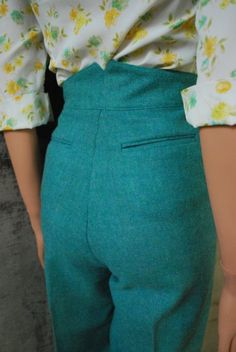 Vintage 70s Teal High Waist Wool Trouser, Pant 40s Style (SMALL) AKA The Take Me To The Met Pant from TheWayUmakeMeFeel.etsy.com