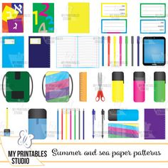 School office supplies cliparts- commercial use icon set - printable stickers - Instant Download png files with transparent background by MyPrintablesStudio on Etsy