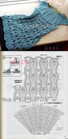 Синяя туника с круглой кокеткой | Вязание для женщин | Вязание спицами и крючком. Схемы вязания.